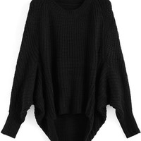 Black Oversized Knit Winter Trendy Sweater