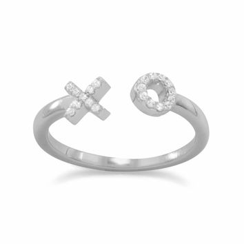 """Rhodium Plated CZ """"X"""" and """"O"""" Ring"""