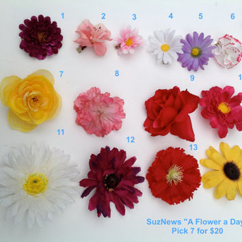 "Flower Hair Barettes Set of 7 - ""A Flower A Day"" Your Choice or Random includes Small Med or Large Flower SIster"