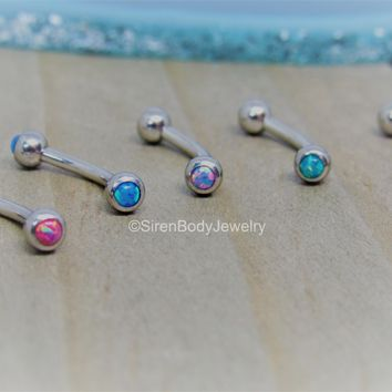 "Opal curved barbell 16g rook piercing bar daith piercing ring 5/16"" vertical labret ring"