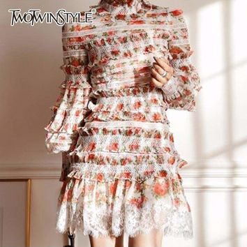 Floral Two Piece Set Lantern Sleeve Palazzo Crop Top Blouse With Lace Trims High Waist Mini Skirts