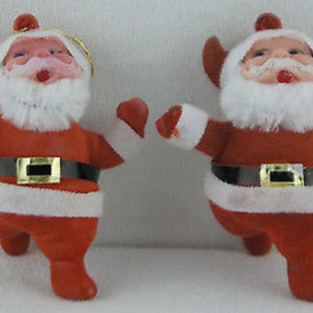 "Vintage 1950's Christmas Ornaments  Flocked Mini ""Santa Claus"" Figurines"