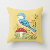 Blue Bird Throw Pillow by Pim-Pimlada Studio | Society6