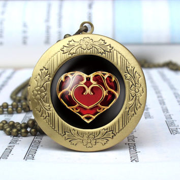 Heart Pendant, Legend of Zelda Inspired Heart Necklace, Zelda Inspired Jewelry, Heart Container vintage pendant locket necklace