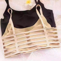 Summer Women Seamless Crop Top Underwear Hollow Bandage Push Up Tank Top Cotton Vest Bra Chest Padded Bralette Tops Camisole