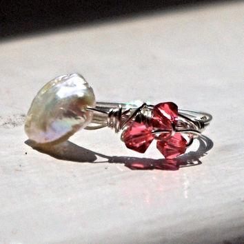 Mermaid Ring, Ariel costume - Button pearl and Swarovski crystals