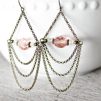 Peach chandelier earrings - chain earrings - dangle earrings - brass earrings - long earrings - winter fashion