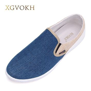 men leisure shoes breathable canvas flat shoes slip on  Linen Woven Patchwork Sapatos Masculinos