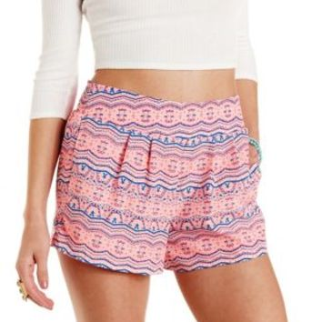 Coral Boho Print High-Waisted Shorts by Charlotte Russe