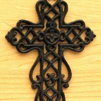 Cast Iron Small Cross With Scrolls