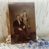 antique victorian tintype photograph  / cabinet card snapshot photo / lovely young couple / paper ephemera / EPSTeam