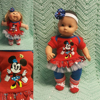 "15 inch Baby Doll ""Shopping with the Mouse"" doll outfit Will fit Bitty Baby® Bitty Twins®  dress leggings socks headband  cruise wear R5"