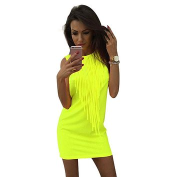 Neon Tassel Women Dress Summer Off Shoulder Sleeveless O-neck Pencil Sexy Night Club Fashion Mini Ladies Dresses