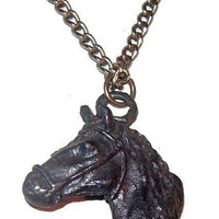 """Horse Head  Pewter Pendant Silver Chain Equestrian 21"""" Western Vintage"""