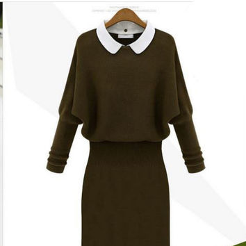 Collar Knit Midi Dress