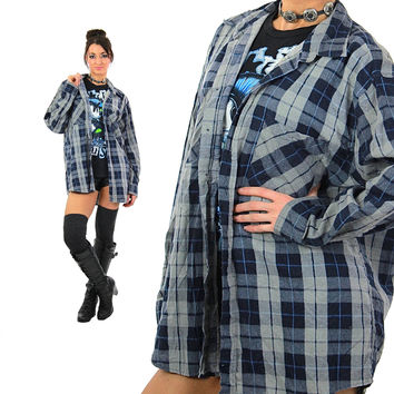 Blue flannel shirt long sleeve button down Vintage 1990s grunge lumberjack oversize retro gray navy checkered top Extra Large