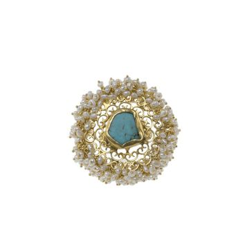 Turquoise and Tiny Pearl Round Ring