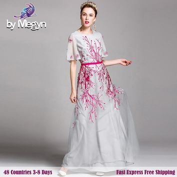 2017 Newest Runway Designer Luxury Dress Brand Pink Light Embroidery White Mesh Women Sturning Maxi Dress Free Fast Express