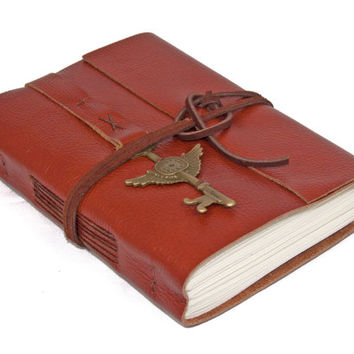 Light Brown Leather Journal with Winged Clock Key Bookmark - Ready to ship -