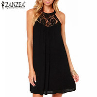 2015 Summer Style Hot Sale Women Sexy Casual Sexy Lace Chiffon Dresses Sleeveless Loose Party Mini Solid Vestidos Plus Szie