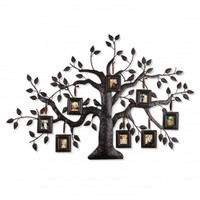 Adeco Brown Black Decorative Collage Family Tree Bronze Iron Metal Wall Haning Collage Picture Photo Frame