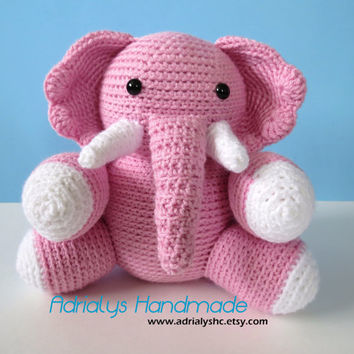 Crocheted Pink Elephant- Stuffed Elephant- Elephant Plush- Safari Animals- African Animals- Handmade Elephant- Crochet Toy- Ready to Ship
