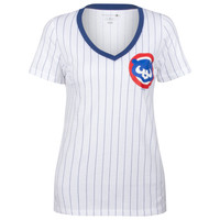 Chicago Cubs Women's White and Royal Pinstripe Crawl Bear Logo V-Neck Tee