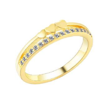 Gold Plated Cubic Zirconia Ring For Women