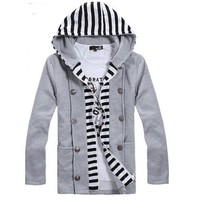 Stripe Button Warp Zip Double-breasted Hoodie Korean Fashion Men Grey Cotton Outfit M/L/XL @512GW003g
