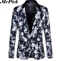 Men Floral Blazers 2014 New Autumn Fashion High Quality Plus Size M-6XL Buisness Dress Slim Vintage Flower Suits Jacket E1253