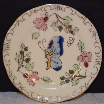 Miniature Zsolnay Hungary Butterfly Plate Vintage Hand Painted Butter Pat Plate Salt Dish Pin Tray Vanity Dresser Miniature Collectible
