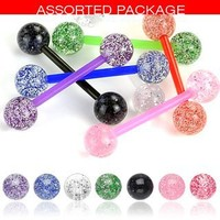 Body Colorz® 7 Flexible Ultra Sparkle Sparkle Acrylic Tongue Ring 14g - In Assorted Colors