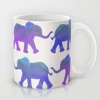 Follow The Leader - Painted Elephants in Royal Blue, Purple, & Mint Mug by Tangerine-Tane