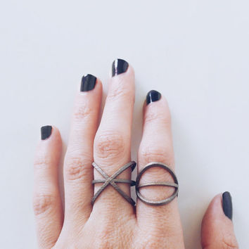 the atom ring // a reversible steel ring, science jewelry, geometric ring, futuristic jewelry, edgy ring, everyday ring