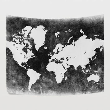 Best white world map wall art products on wanelo balck and white world map tapestry wall hanging gray global map gumiabroncs Choice Image