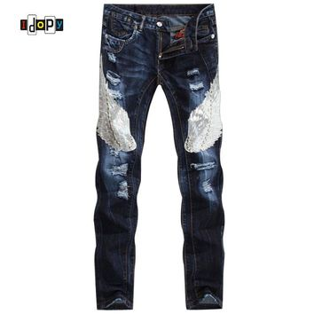 Runway Mens European Jeans Ripped Acid Washed Patched Fashion Urban Star Motorcycle Jeans With Wings For Men