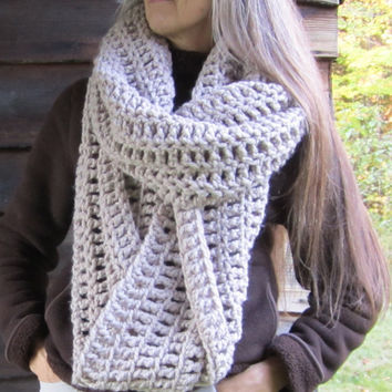 Extra Large Oversize Chunky Infinity Scarf Snood Shawl / THE OKEMO / Linen Beige