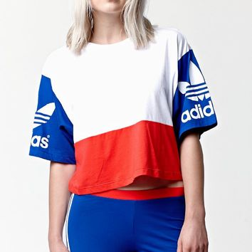 e0590327d5017 Adidas LA Trefoil Cropped Crew Short Sleeve T-Shirt - Womens Tee - White
