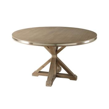 Metal Banded Wooden Round Shaped Dinning Table With X-Base Pedestal, Rustic Brown