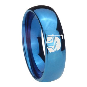 8MM Glossy Blue Dome Star Wars Boba Fett Sci Fi Science Tungsten Laser Engraved Ring