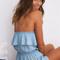 Aerie Strapless Chambray Romper, Light Blue