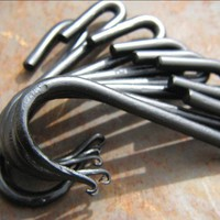 Set of 8 Hand Forged Iron Pot Rack Hooks by VinTin