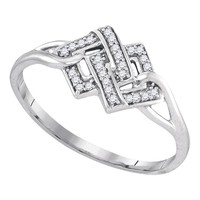 Sterling Silver Womens Round Diamond Linked Square Cluster Ring 1/12 Cttw