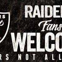 Oakland Raiders Wood Sign Fans Welcome 12x6