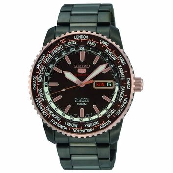 Seiko SRP132 Men's 5 Sports Special Edition Brown Dial Black IP Steel Automatic Watch