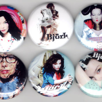 Björk - Set of 6 - Bjork Family Tree Post Trip Hop Alternative Experimental Buttons Badges Pins Pinback