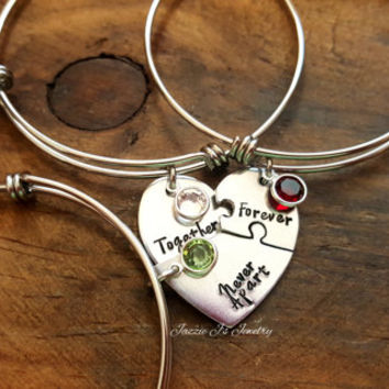 Together Forever Never Apart Three Piece Puzzle Heart Bangle Set, Handstamped 3 Split Heart Bangle Set, Sisters Jewelry, Best Friends Set