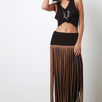 Contrast Tier Suede Fringe Maxi Skirt