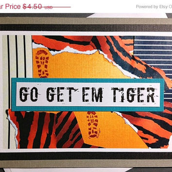 Go Get 'Em Tiger - Running Encouragement, Motivational, Good Luck Greeting Card for Runners, Walkers, Triathlon (Blank Inside)