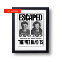 Home Alone The Wet Bandits Harry and Marv Wanted Escaped Poster Kevin McAllister Christmas Movie Prop Gift
